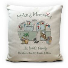 Personalised Family Caravan Illustration Making Memories Cushion Cover 16""