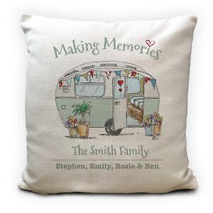"""Personalised Family Caravan Illustration Making Memories Cushion Cover 16"""""""