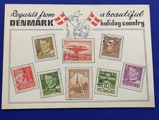 Postcard Denmark Used Stamps Flag Map Tourist Promotional 1970's
