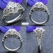 2 Ct Art Deco Off White Moissanite Vintage Engagement Ring 925 Sterling Silver