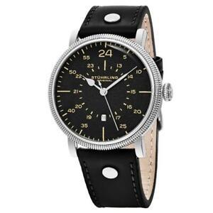 Stuhrling 656 01 Zeppelin Aviator Quartz GMT Date Black Leather Strap Mens Watch
