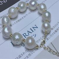 12-13mm White Baroque Pearl Bracelets Diy Handmade 7.5 inches diy classic