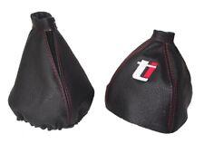 """Cuffia Leva Cambio E Freno Per Alfa Romeo 159 2005-11 Pelle """"Ti"""" Rosso Logo"""