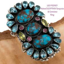 "A+ LEO FEENEY Turquoise Ring ""EGYPTIAN TOTEM"" Sterling Silver 8 Gemstone"