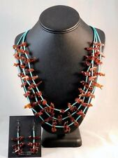 Vintage Zuni Indian Hand Carved AMBER ANIMAL FETISH NECKLACE EARRINGS Set c1970s