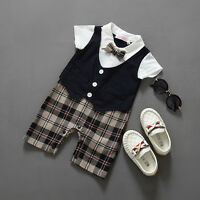 Newborn Wedding Christening Formal Smart Summer Outfit Romper Tuxedo Sailor Set