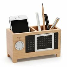 Pen Pencil Wooden Holder With Calendar Desk Organizers Two Grids Table Ornaments