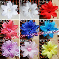 BF197 10pc Satin 3D Flower ribbon beaded Appliques DIY Crafts sewing dress decor