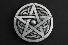 CIRCULAR CELTIC KNOT & PENTAGRAM BLACK METAL BELT BUCKLE  SCOTTISH GAELIC
