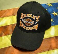 HARLEY DAVIDSON ORANGE BAR SHIELD BANNER BLACK HAT CAP New