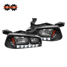 06-10 Dodge Charger 1pc headlights Corner w/LED DRL Black Housing Amber
