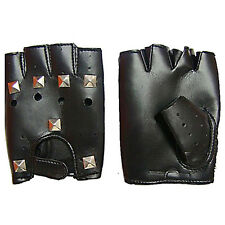 New Fingerless Rivet Faux Leather Vented Black Gloves for Motorcycle Rider Witty