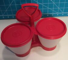 Vintage Tupperware Salad Dressing Caddy Condiment Server 3 CLEAR Bowls RED Lids