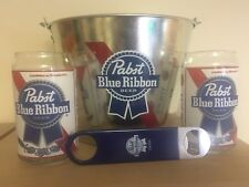PBR Pabst Blue Ribbon Bucket, Bottle Opener and 2 Glasses. Great Gift!