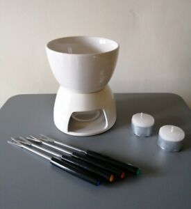Chocolate Fondue Set - 4 Forks & 2 free candles - Perfect Valentine's Day Gift