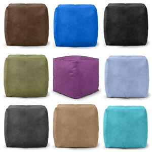 Pouffe Seat Faux Suede Foot Rest Bean Bag Soft Heavy Duty Filled **Small Cube**