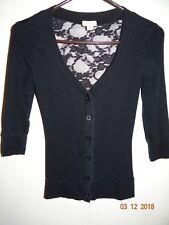ZENANA Girls Sz S 12 Solid Black Lace Backed 3/4 Sleeved Cardigan FREE SHIPPING