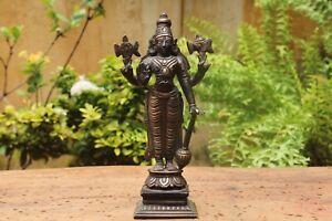 Antique Vishnu Statue Hindu God Mahavishnu Brass & Silver Sculpture Vintage Idol