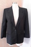 Talbots Women's Long Sleeve Charcoal Grey Single Button Wool Career Blazer 10P