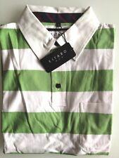 Kitaro Men Polo-Shirt Herren Kurzarm Weiß/Grün Gestreift Baumwolle Gr. M