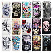 Flower Skull Card Slot Leather Wallet Case Cover For Samsung Galaxy
