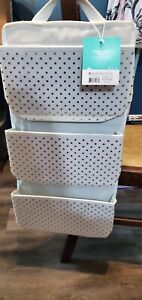 NEW Pillowfort Hanging 3-Pocket Storage White with Gold Polka-Dots