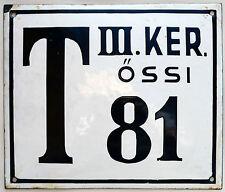 Large old Bulgarian house number 81 door gate plate plaque enamel metal sign
