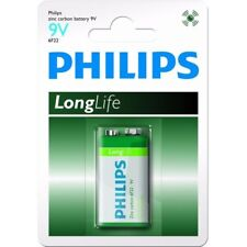 Lot 12 piles (12 blisters) Philips Longlife zinc carbone 9V 6F22 (6LF22 / 6LR61)
