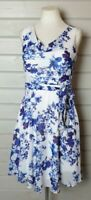 SOPHIE GRAY Blue White Floral Fit & Flare Tea Dress 14 BNWT Summer Party Wedding