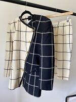 Vintage Designer Monochrome Asymmetric Check George Gross Skirt Suit