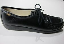 SAS Womens 10 M Black Leather Sneakers Flat Wedge Comfort Shoes