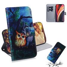 Oil Painting Owl Fashion Flip Wallet Bracket Case Back Cover For Various Phones
