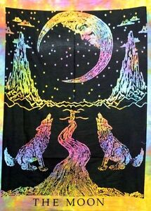 The Moon Wolf Multi Tapestry Wall Hanging Hippie Throw Poster Indian Cotton Art
