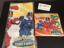 New Mighty Morphin Power Rangers Time Force Party Table Cloth 89x54 & 16 Napkins