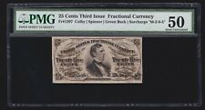 Us 25c Fractional Currency Fiber Paper Green Back Fr 1297 Pmg 50 Au