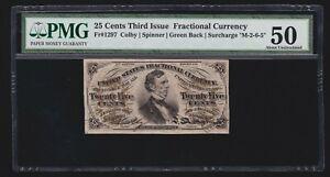 US 25c Fractional Currency Fiber Paper Green Back FR 1297 PMG 50 AU