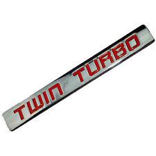 CHROME/RED METAL TWIN TURBO ENGINE MOTOR SWAP EMBLEM BADGE FOR HOOD DOOR  B
