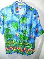 MENS BLUE GREEN PINK SAILBOATS RAYON HAWAIIAN TROPICAL ALOHA SHIRT SIZE S 40