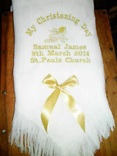 Personalised christening shawl Angel Design in white FREE POSTAGE