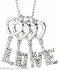 AVON SILVER PLATED LOVE KEYS NECKLACE (New/Boxed)