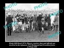 OLD LARGE HISTORICAL PHOTO OF ESSENDON v RICHMOND WINDY HILL BRAWL c1974
