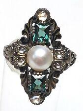 Antikschmuck Silber Ring 800 punziert um 1900 Smaragde & Rosendiamanten RG 57/F9