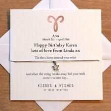 Personalised Handmade ARIES BIRTHDAY Wish Bracelet - Zodiac Sign, Horoscope