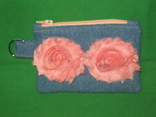 Denim Coin Purse w/ Peach Fabric  Flowers & Key Ring -Handmade