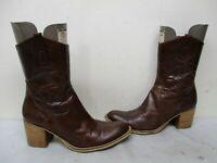 Nine West Hillarey Brown Leather Zip Cowboy Boots Womens Size 9.5 M