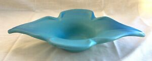 Vtg Van Briggle Pottery Console Bowl/Dish, Ming Blue Turquoise Stylized Flower