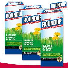 Roundup Gazon Désherbant 3 x 500 ML Concentré Hornklee Wegerich Marguerite