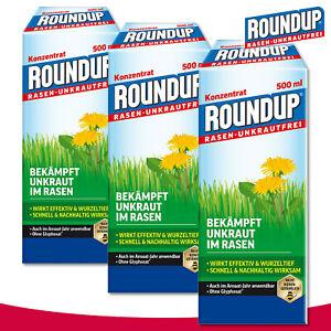 Roundup Rasen-Unkrautfrei 3 x 500 ml Konzentrat Hornklee Wegerich Gänseblümchen