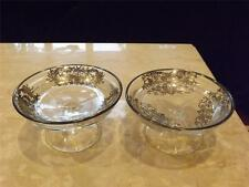 Pair of Silver Overlay Footed Glass Dishes Bowls