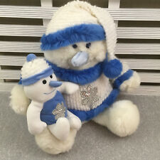 Chad Valley Snowman Holding Baby Snowman Soft Toy 16""